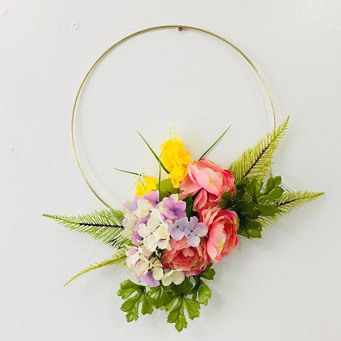 Medium Handmade Wreath- Pink/Purple/Yellow