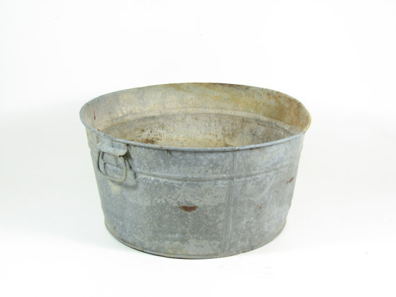 vintage galvanized metal tub wash basin