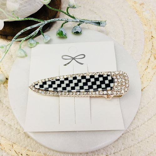 B&W Checkered Hair Clip With Crystals