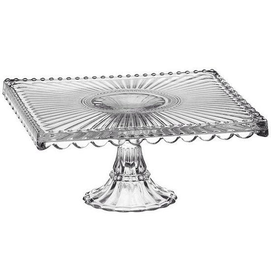 vintage square glass cake stand