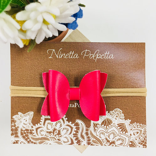 Bow Hairband - Hot Pink with Tan Band