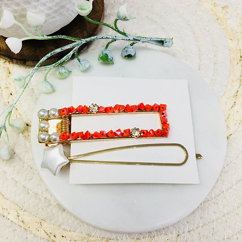 Set of 2 Crystal Hair Clips (red)