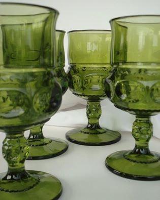vintage olive green glass goblets (set of 12)