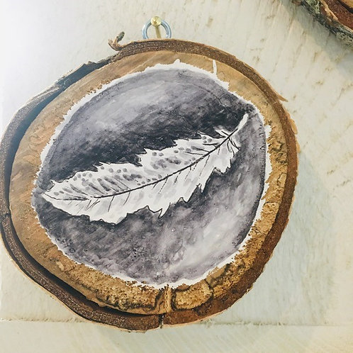 "Hand Painted ""Feather"" on Wood Slice"