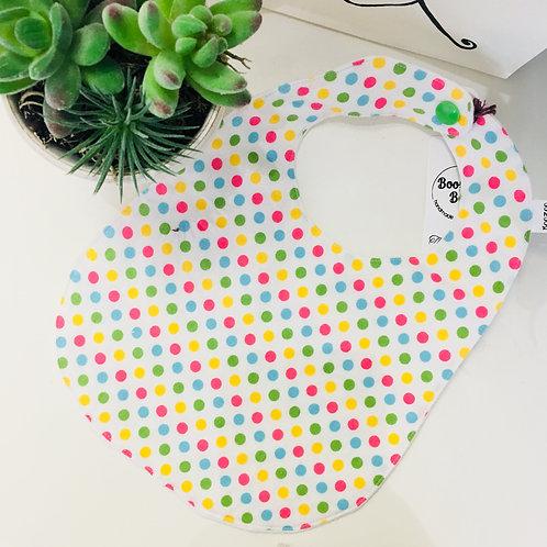 Boozoo Baby Bib - Yellow/Green/Blue/Pink Polka Dots- 0-6m