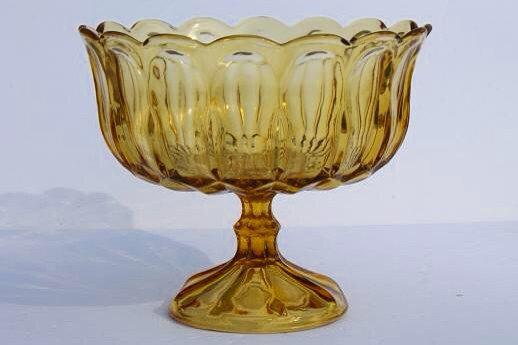 anchor hocking amber footed bowl