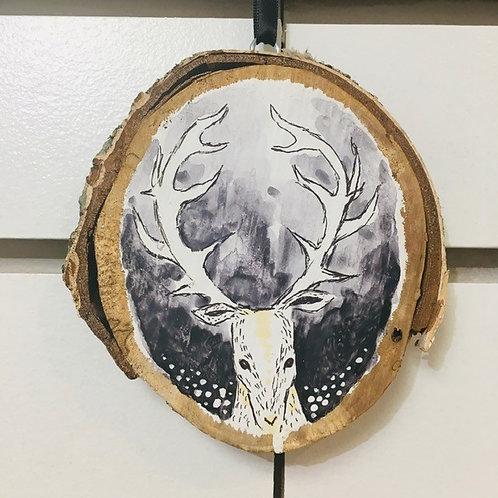 """Hand Painted """"Deer"""" on Wood Slice"""