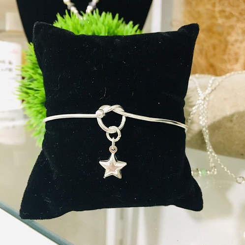 Sterling Silver Bangle Bracelet With Charm