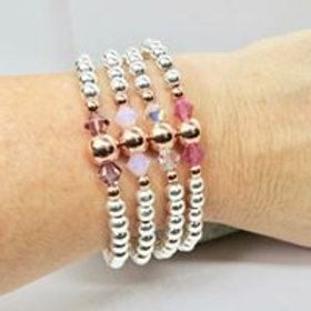 Sterling Silver Stacking Bracelet with Swaraofski  Crystal