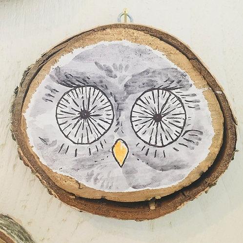 """Hand Painted """"Owl"""" on Wood Slice"""
