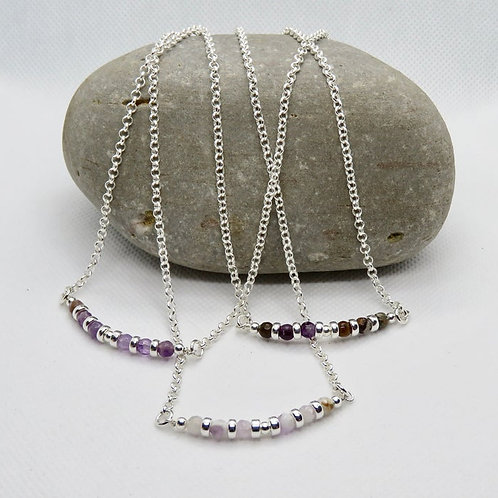 Gemstone Bar Necklace. Sterling Silver Rolo Link Chain. Lobster Clasp. Amethyst.