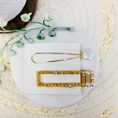 Set of 2 Crystal Hair Clips (Yellow)