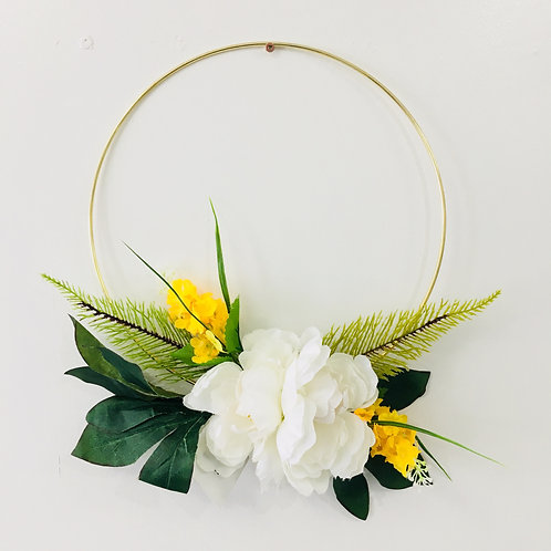 Medium Handmade Wreath- White/Yellow