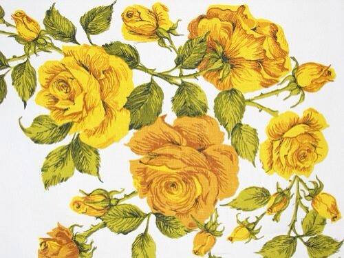 vintage yellow rose linen tablecloth