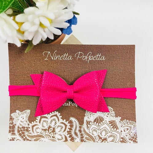 Bow Hairband - Hot Pink with Hot Pink Band