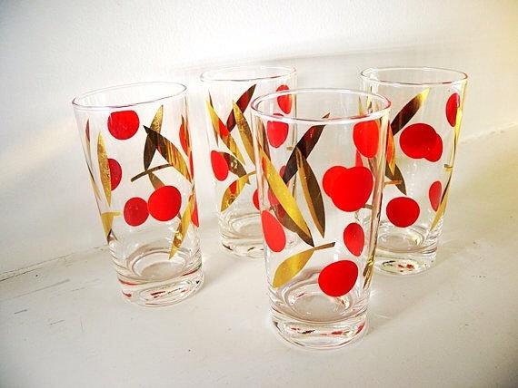 vintage 1960's red cherry glasses (x12)