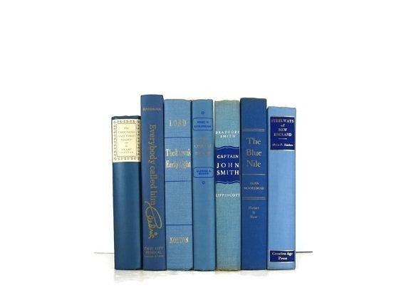vintage blue linen books (sets of 3)