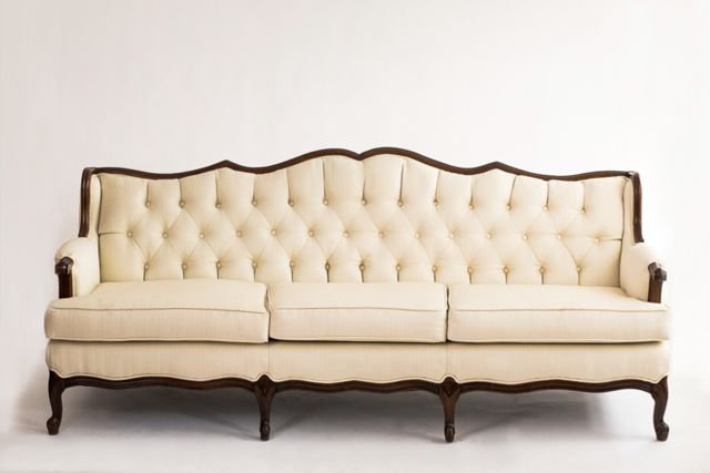 vintage ivory velvet sofa