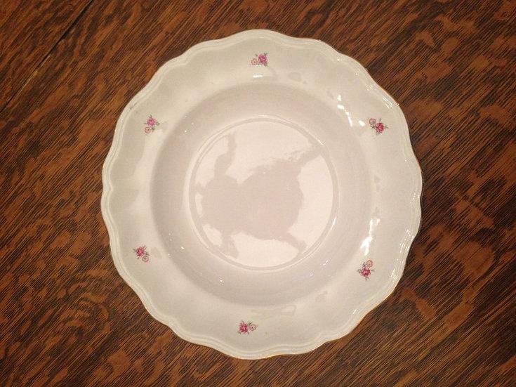 6 vintage white rosebud dinner plates