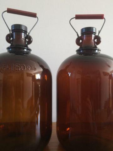 vintage amber glass jugs