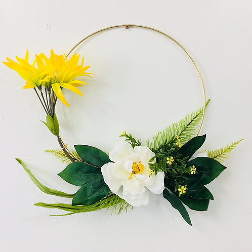 Medium Handmade Wreath- Yellow/White