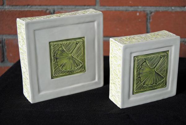 "Rhonda Uppington- Ginko Leaf Walled Tile (5"")"