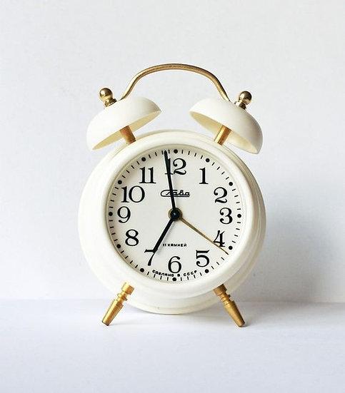 vintage white alarm clock