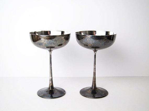 de Ubert Italy silver champagne glasses (set of 8)