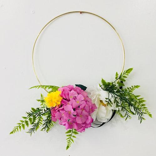 Medium Handmade Wreath- White/Purple/Yellow