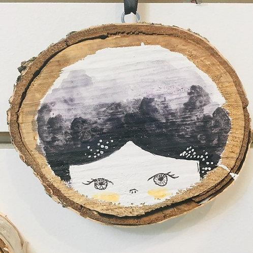 "Hand Painted ""Girl1"" on Wood Slice"