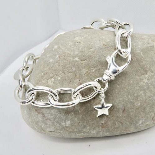 Silver Silver Bracelet with Star Charm