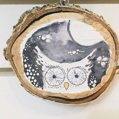 "Hand Painted ""Owl and Moon"" on Wood Slice"