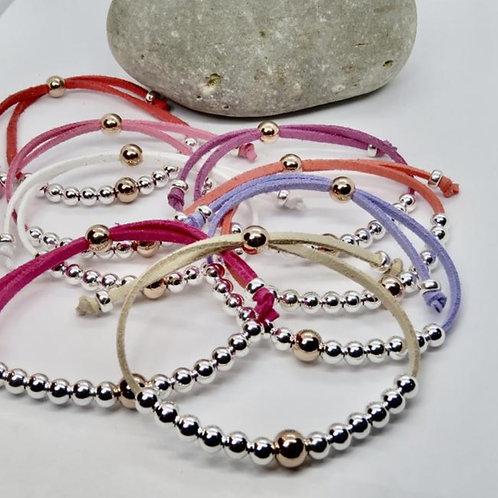 Pink Friendship Bracelets   Sterling Silver and 14k Gold