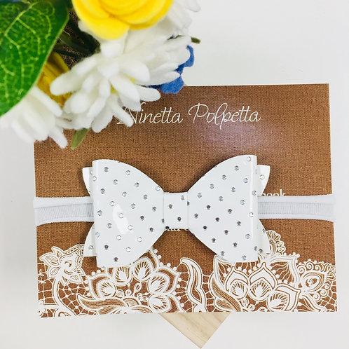 Bow Hairband - White And Silver with White Band