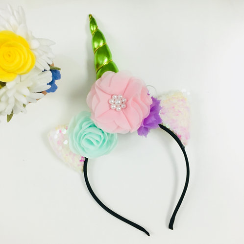 Unicorn Headband - Green Horn
