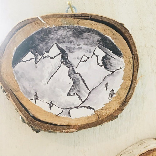 "Hand Painted ""Mountains"" on Wood Slice"
