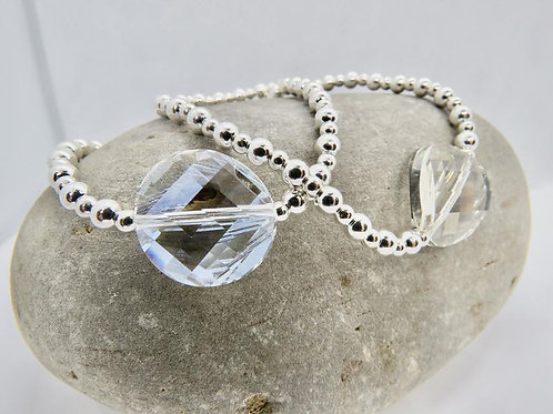 Large Sterling Silver Bracelet with Swaraofski  Crystal