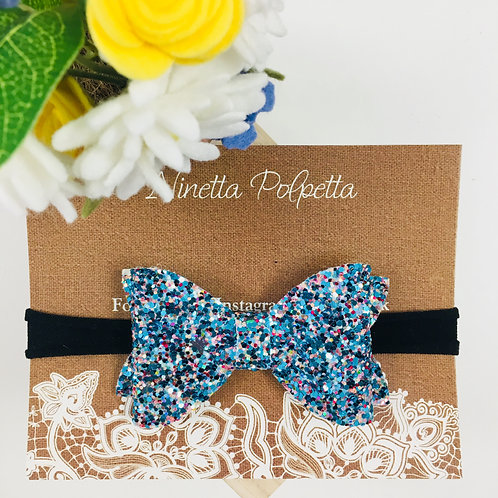 Bow Hairband - Blue Sparkles with Black Band