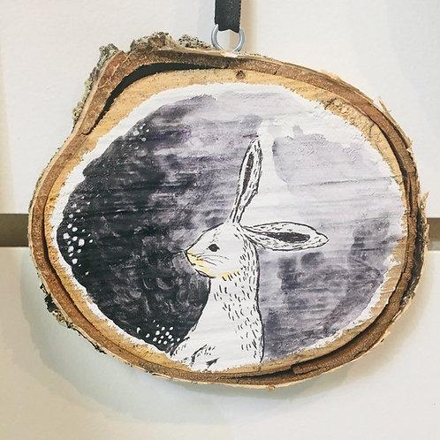 """Hand Painted """"Rabbit"""" on Wood Slice"""