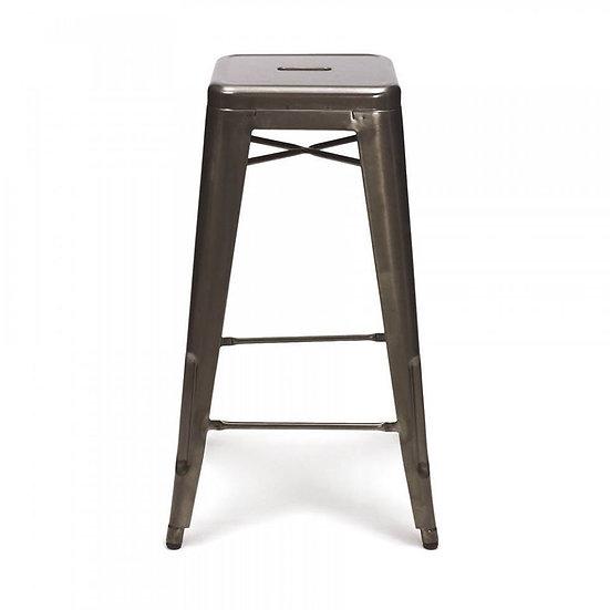 metal bar stools (yellow, white, grey, red)