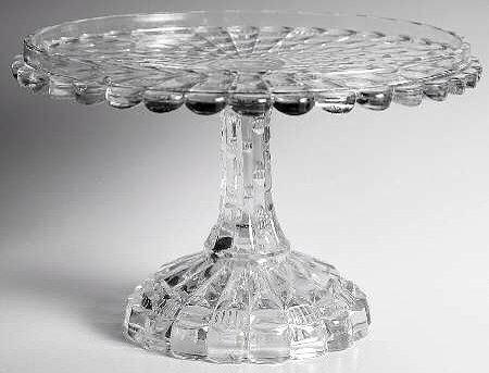 vintage round glass cake stand