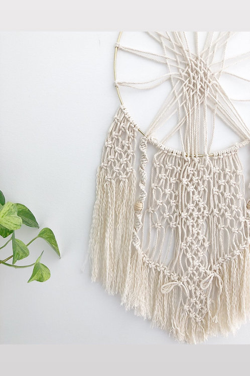 Macrame Wall Art with Gold Ring