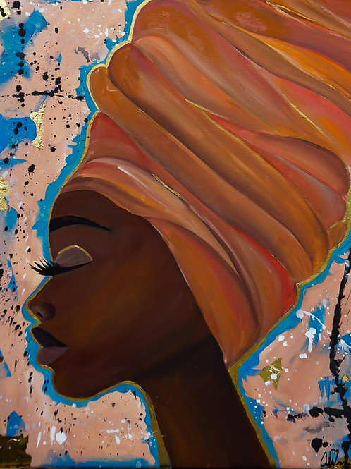 Abstract Head wrap Painting original