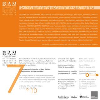 Deutsche Architektur Museum  Frankfurt, Versteigerung Arbeiten der ausgewelten Architekten