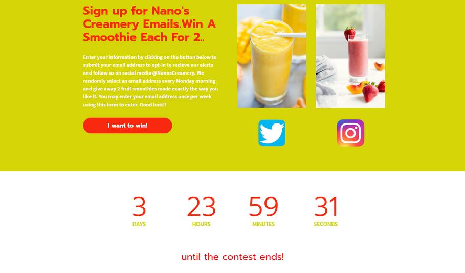 Landing Pge #4 - Nanos Creamery   Win A