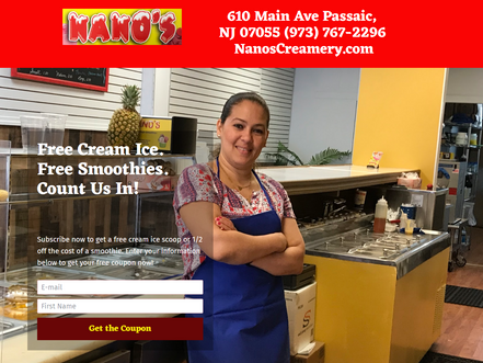 Landing Page #3 - Nano s Creamery   Get Your Free Cream Ice With A Share On Social Media Page.png