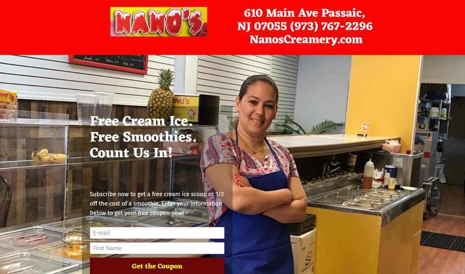 Landing Page #3 - Nano s Creamery   Get