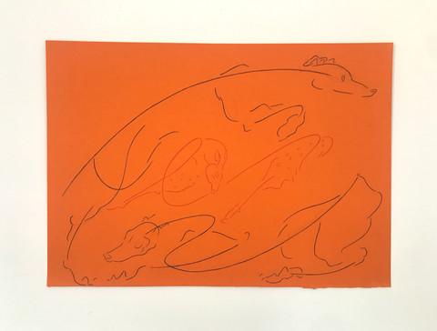 Two greyhounds and faun (orange) (2020)