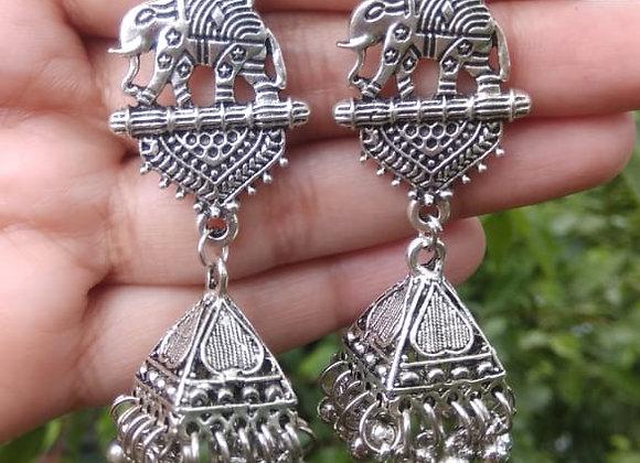 Oxidised silver Jhumkas