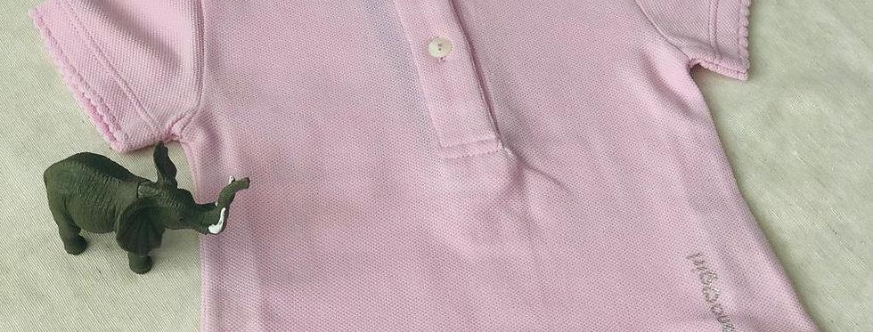 Tricou cu guleraș și năsturei - roz pudrat